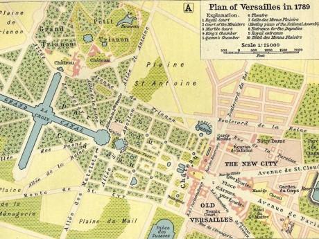 Map of Versailles in 1789 by William R Shepherd died 1934 460x345 El Palacio de Versalles, la joya de la corona francesa