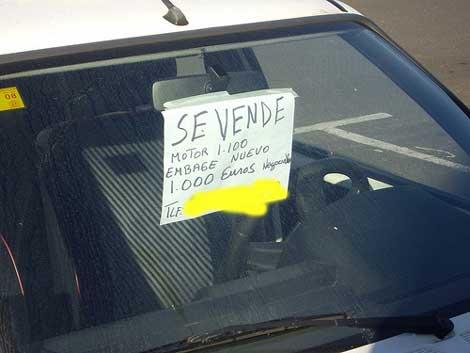 cartel se vende coche ¿Sabes que puede estar prohibido poner carteles de se vende en tu coche?