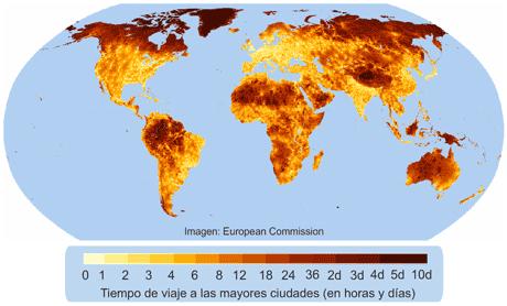 mapa distancias mundiales Tiempo que lleva viajar a las principales ciudades